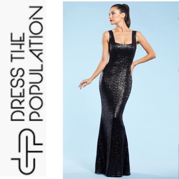 Dress the Population Dresses & Skirts - Dress the Population Raven Gown Black Sequins XXL